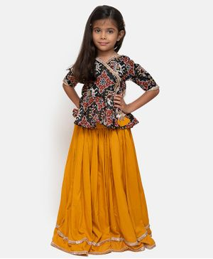 Fairies Forever Elephant Print Half Sleeves Choli With Lehenga - Yellow