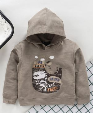 Memory Life Winter Wear Full Sleeves Hooded Tee Dino Print - Grey
