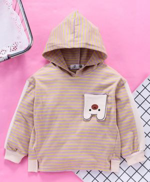 Kookie Kids Hooded Striped T-Shirt - Brown