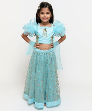 Fairies Forever Ruffled Half Sleeves Choli With Flower Embroidered Lehenga & Dupatta - Blue