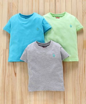 Babyhug Half Sleeves Solid T-Shirts Pack of 3 - Green Blue Grey