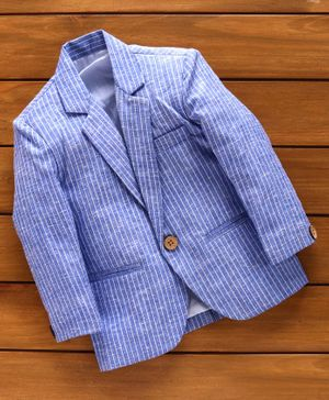 Rikidoos Full Sleeves Striped Blazer - Blue
