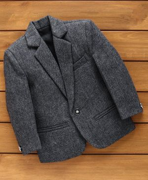 Rikidoos Full Sleeves Solid Blazer - Grey