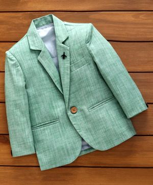 Rikidoos Full Sleeves Solid Blazer - Green