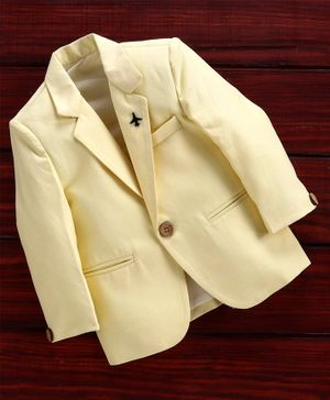 Rikidoos Full Sleeves Solid Blazer - Yellow