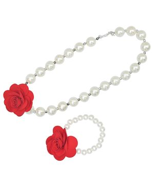 Funkrafts Flower With Pearl Decorated Necklace With Bracelet - Red