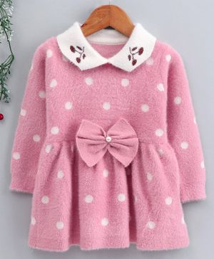 Kookie Kids Full Sleeves Polka Dotted Winter Frock With Bow Motif - Pink