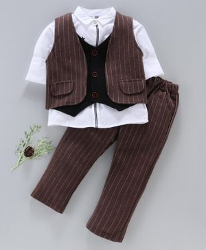 Kookie Kids Full Sleeves Shirt With Striped Trouser & Waistcoat - Brown
