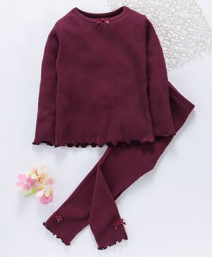 Yiyi Garden Full Sleeves Solid Night Suit - Dark Maroon