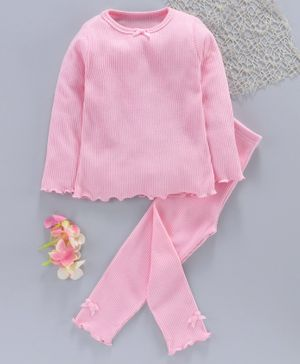 Yiyi Garden Full Sleeves Solid Night Suit - Light Pink