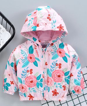 Yiyi Garden Full Sleeves Sweat Jacket Rose Print - Light Pink