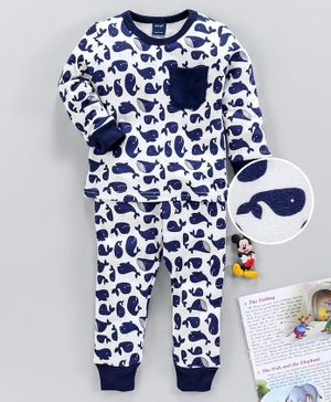 Mabaojd Full Sleeves Night Suit Allover Fish Print - White Blue