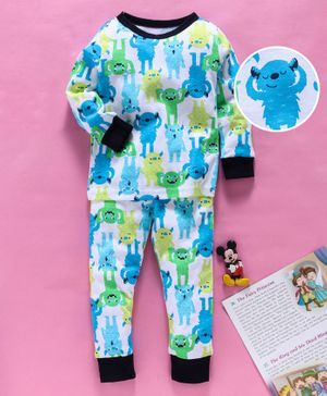 Yiyi Garden Full Sleeves Night Suit Monster Print - White Blue