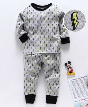 Yiyi Garden Full Sleeves Night Suit Thunder Print - Grey