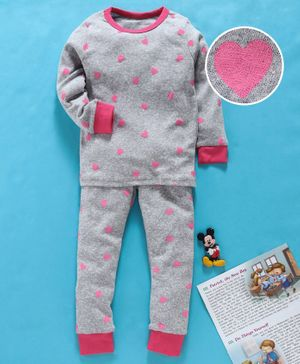 Yiyi Garden Full Sleeves Night Suit Heart Print - Grey