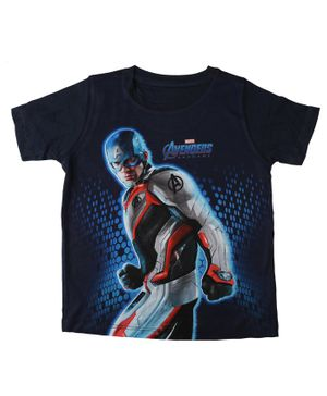 Marvel By Crossroads Half Sleeves Avengers Endgame Captain America Printed Tee - Black