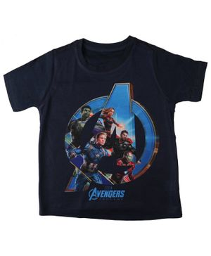 Marvel By Crossroads Half Sleeves Avengers Endgame The Strongest Heroes Printed Tee - Black