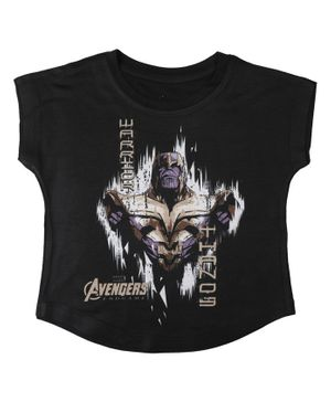 Marvel By Crossroads Avengers Endgame Warrior Thanos Print Short Sleeves Top - Black