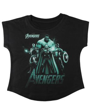 Marvel By Crossroads Avengers Endgame Print Short Sleeves Top - Black
