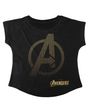 Marvel By Crossroads Avengers Endgame Logo Printed Short Sleeves Top - Black
