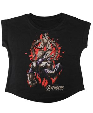 Marvel By Crossroads Avengers Endgame Thanos Printed Short Sleeves Top - Black