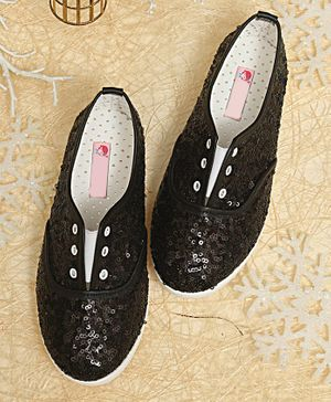 D'Chica Sequin Slip On Shoes - Black