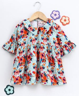Hugsntugs Floral Print Half Sleeves Top - Multi Colour