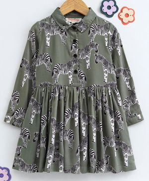 Hugsntugs Zebra Print Full Sleeves Dress - Green