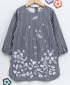 Hugsntugs Floral Embroidery Full Sleeves Striped Dress - Black & White