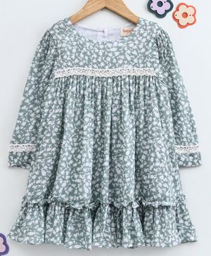 Hugsntugs All Over Floral Print Full Sleeves Frill Dress - Light Green