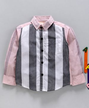 Hugsntugs Colour Block Pattern Full Sleeves Shirt With Attached Bow Tie - Light Pink
