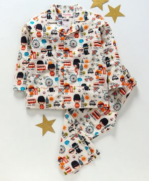 Hugsntugs London Theme Full Sleeves Night Suit - Multi Colour