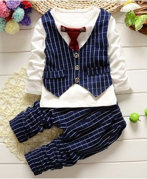 Pre Order - Awabox Full Sleeves Tee With Checkered Attached Waistcoat & Tie With Pants - Navy Blue