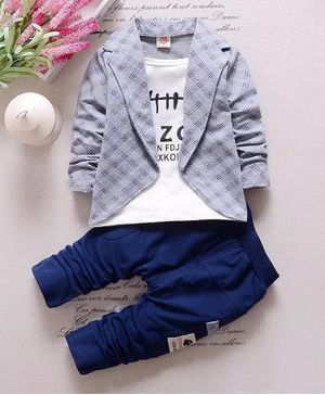 Pre Order - Awabox Text Printed Tee With Checkered Full Sleeves Jacket & Pants - Grey