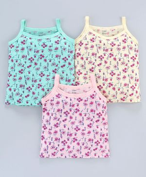Cucumber Singlet Slips Floral Print Pack Of 3 - Multicolor