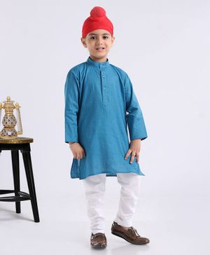 Ethnik's Neuron Full Sleeves Kurta And Pyjama Set - Blue White