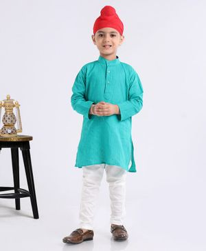 Ethnik's Neuron Full Sleeves Kurta And Pyjama Set - Green White