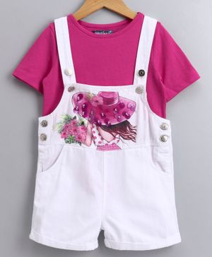 Nauti Nati Half Sleeves Tee With Girl Holding Flowers Printed Dungaree - White & Pink
