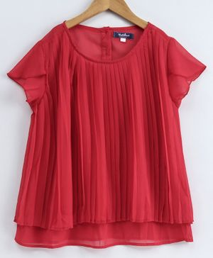 Natilene Short Sleeves Pleated Top - Red