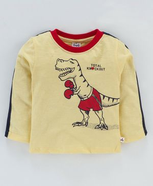Simply Full Sleeves T-Shirt Dinosaur Print - Yellow