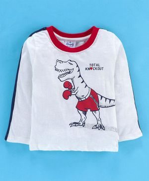 Simply Full Sleeves T-Shirt Dinosaur Print - White