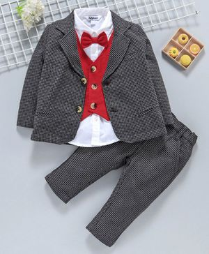 ToffyHouse 4 Piece Party Suit With Bow - Red Black