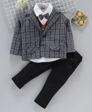 ToffyHouse Full Sleeves 4-Piece Checked Party Suit - Grey