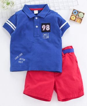 ToffyHouse Half Sleeves Tee & Shorts With Belt 98 Numeric Patch - Red Blue