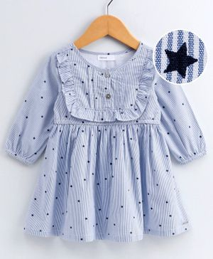 Babyoye Full Sleeves Striped Frock Star Print - Blue
