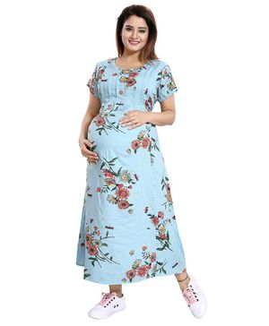 Mamma's Maternity Flower Printed Half Sleeves Maternity Dress - Blue