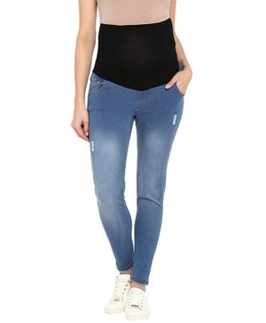 Momsoon Full Length Ripped Maternity Jeans - Blue