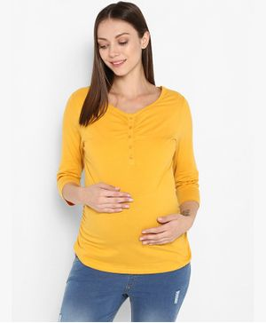 Momsoon Three Fourth Sleeves Solid Maternity Top - Yellow