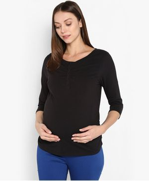 Momsoon Three Fourth Sleeves Solid Maternity Top - Black