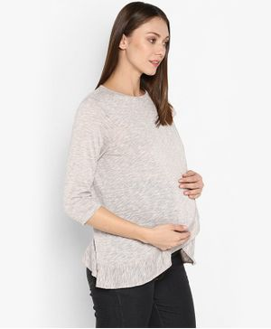 Momsoon Three Fourth Sleeves Solid Maternity Front Flap Top - Grey